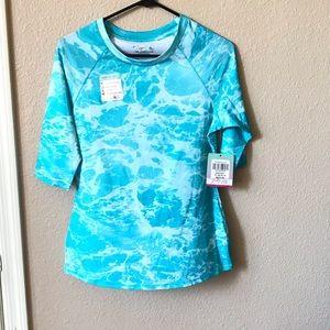 Reel legends 1/2 sleeve sea foam scuba blue top M